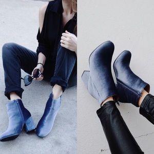 Ice Blue Velvet Ankle Boots